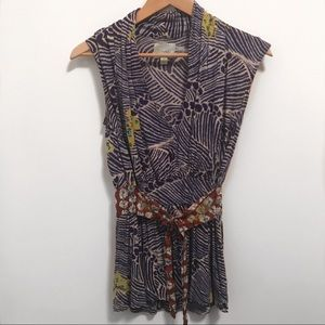 Deletta Anthro Purple V-Neck Faux Wrap Blouse- S